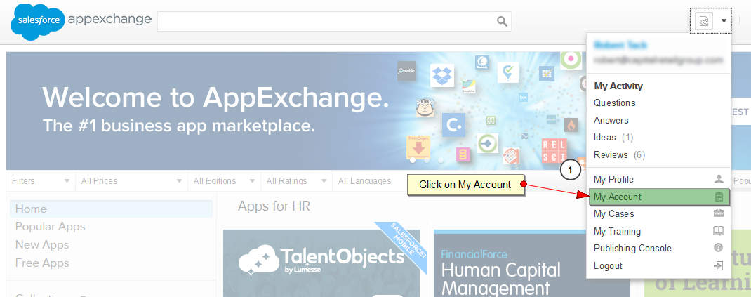 Add new licenses in appexchange, click on myAccount
